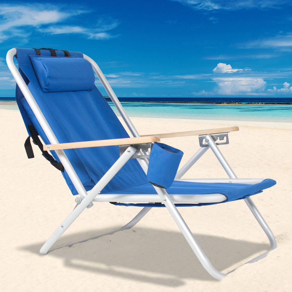 Portable High Strength Beach Chair with Adjustable Headrest Blue