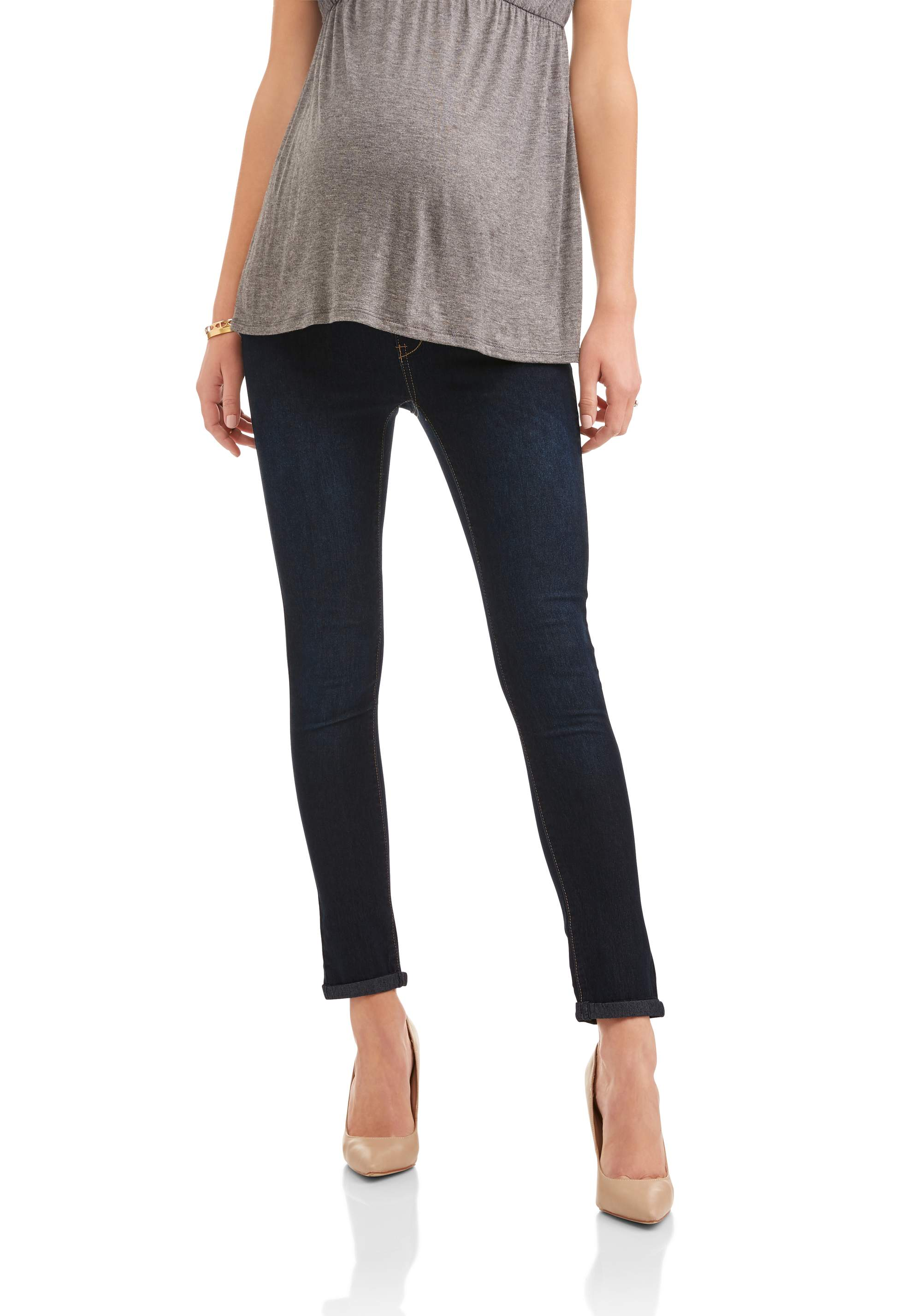 Maternity Full Panel Stretch 5 Pocket Boyfriend Jeans -- Available in Plus Sizes by