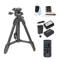 Sony VCT-R100 39-inch 4-Section Tripod with 2 Batteries & Charger + Accessory Bundle