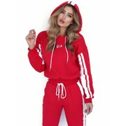 2Pcs Set Women's Hoodies Crop Top Sweatshirt Pants Lounge Sports Tracksuit