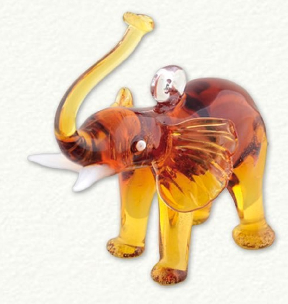 Miniature Amber Colored Elephant Egyptian Glass Christmas Ornament Made in Egypt