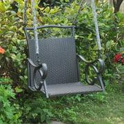 International Caravan Resin Wicker Valencia Single Porch Swing Chair