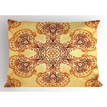 Ethnic Pillow Sham Ornate Vintage Circular Motif in Mehndi Style Henna Tattoo Mandala Inspired, Decorative Standard Queen Size Printed Pillowcase, 30 X 20 Inches, Dark Orange Apricot, by (Henna Mehndi Tattoo)
