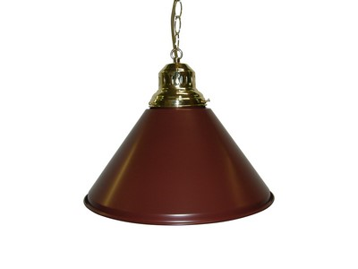 Game Room- Bar Billiard Pool Table Light Pendant Brass W Metal Burgundy Shade by