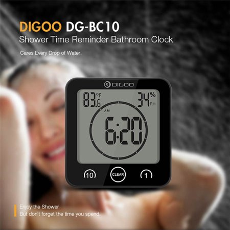 Indoor Transfer Panel - Digoo DG-BC10 Digital LCD Touch Panel Bathroom Wall Clock Waterproof Suction Cups Countdown Timer Indoor Humidity Hygrometer Thermometer Alarm Clock