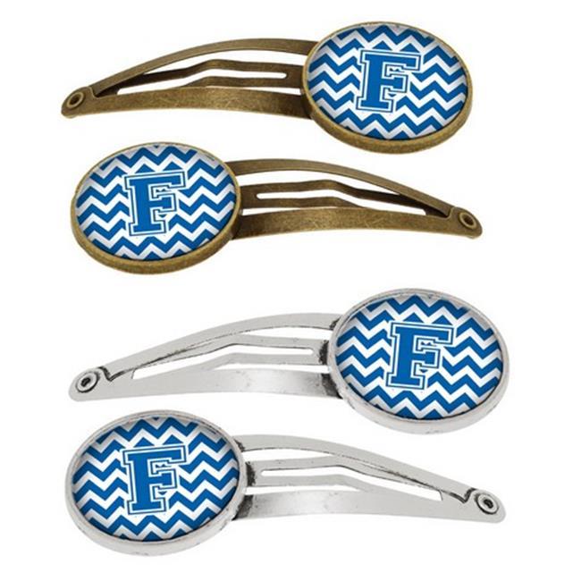 Letter F Chevron Blue & White Barrettes Hair Clips, Set of 4