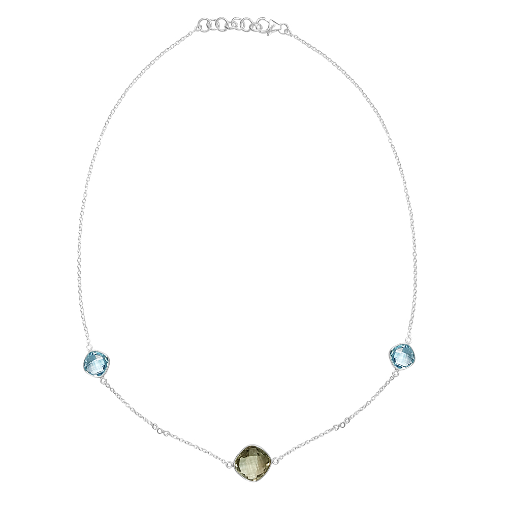 12.50 Ct Green Amethyst Blue Topaz & Diamond 925 Silver 18 Inch Necklace by