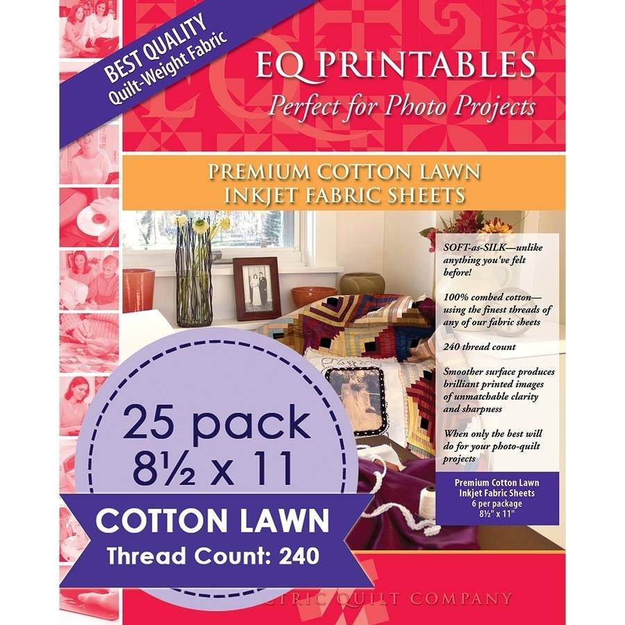 "Premium Printable Cotton Lawn Fabric 8.5""X11"" 25/Pkg-100% Cotton"