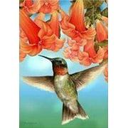 "Hummingbird In Flight Spring House Flag Floral Seasonal Custom Decor 28"" x 40"""