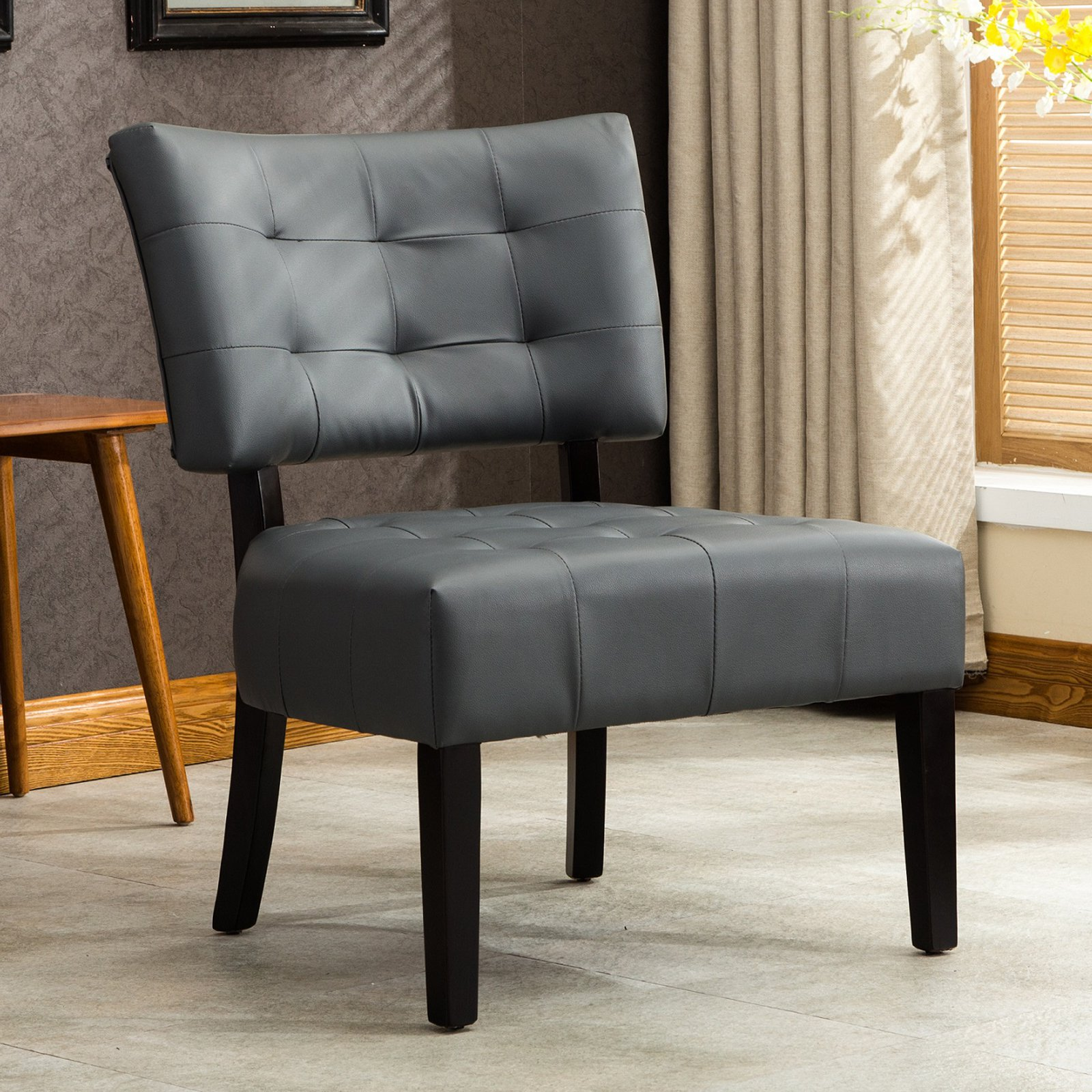 Roundhill Blended Leather Tufted Accent Chair with Oversized Seating, Multiple Colors Available by RHF