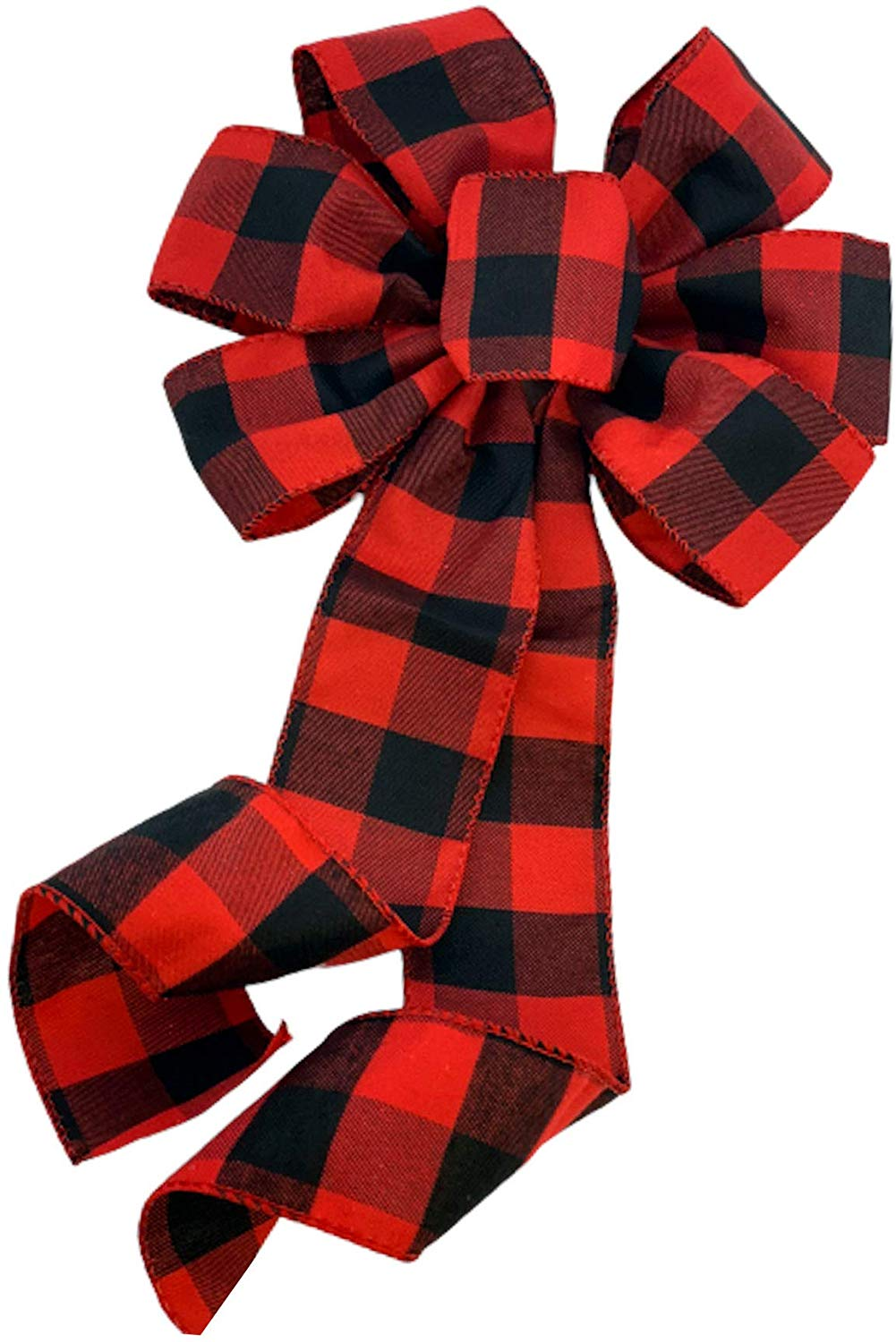 Buffalo Plaid Christmas Wreath Bow 10 Wide 18 Long Pre Tied Bow Red Black Checkers Valentine S Day Door Decoration Swag Wreath Garland Boxing Day Fall Winter Walmart Com Walmart Com