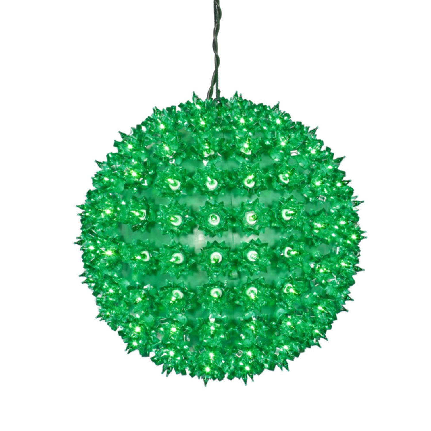 "Vickerman 10"" Green Lighted Hanging Star Sphere Christmas..."