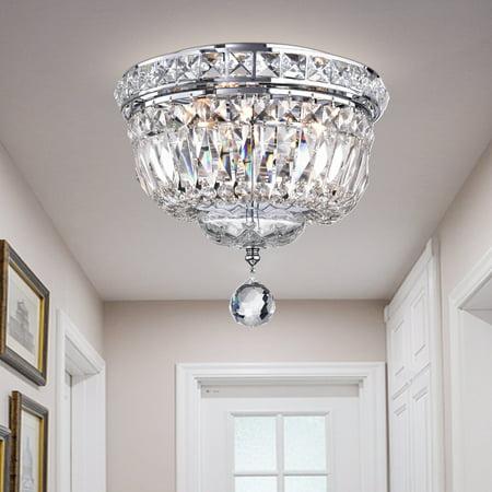Sedguwa Clear Chrome and Crystal Basket Ceiling Lamp ()