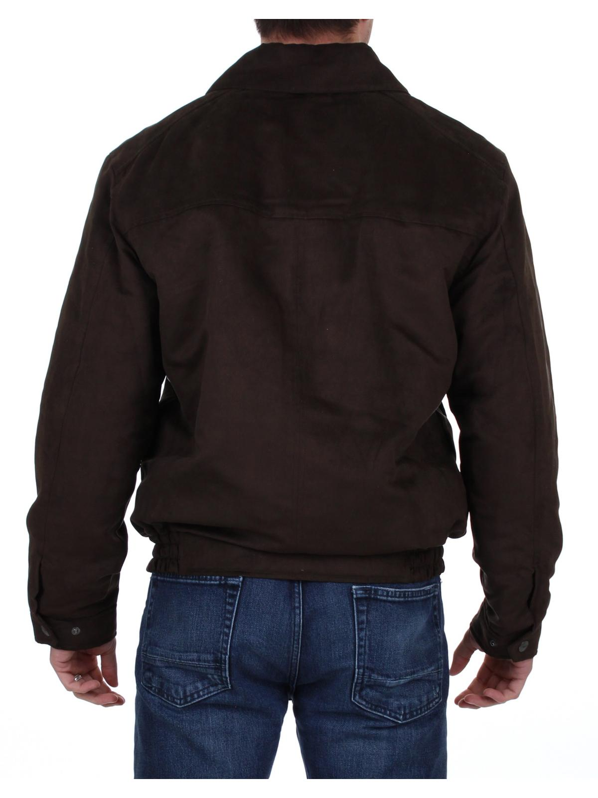 Weatherproof Mens Microsuede Water Resistant Bomber Jacket Brown Size M