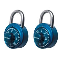 Master Lock Padlock 1530T Dial Combination Lock, 1-7/8 in. Wide, Assorted Colors, 2-Pack