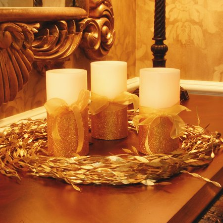 Battery Operated Candles- Gold Bow- Set of 2 - Walmart.com
