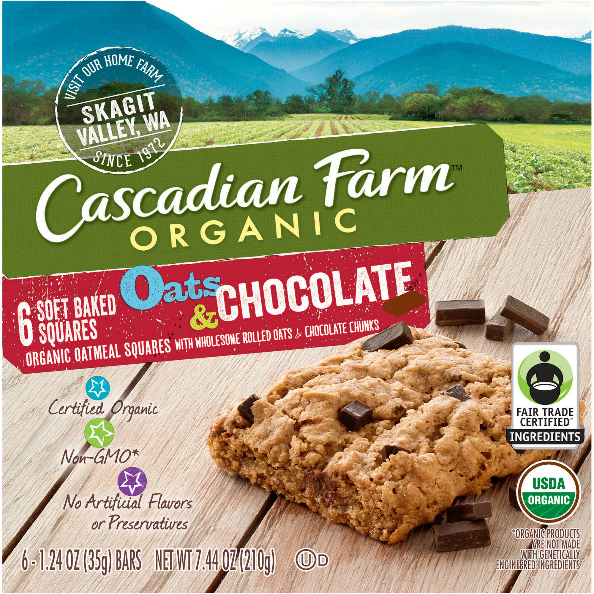 Cascadian Farm Organic Oats & Chocolate Soft Baked Squares, 1.24 oz, 6 count
