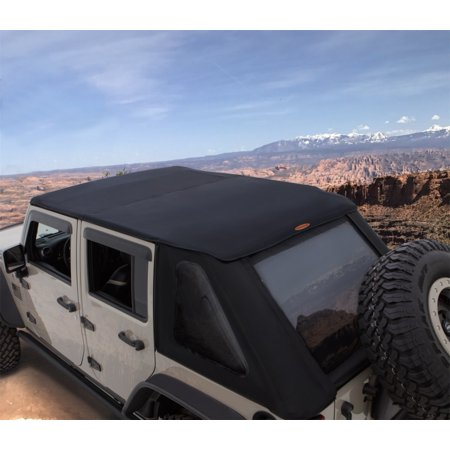 Bushwacker 07-18 Jeep Wrangler Unlimited 4-Door Trail Armor Twill Fast Back Soft Top - Black
