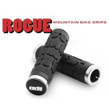 ODI L31RGB  L31RGB; Rogue No Flange Lock-On Grips Black / Silver 130-mm