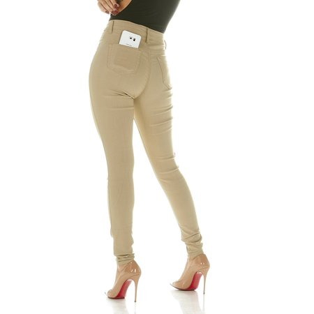 39682dfc8f615 High Waisted Ultra Skinny Cigarette Slim Fit Extra Stretch Plus Size Pants  Jeans Size 20W in Khaki