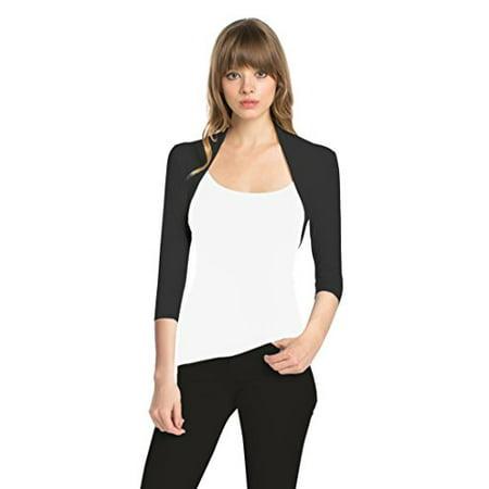 Fashion Secrets Women 3/4 Sleeve Rayon Bolero Shrug Cropped Cardigan (Small, Black)