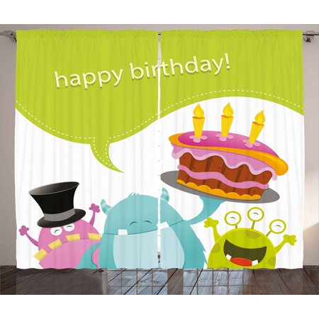 Birthday Decorations Curtains 2 Panels Set, Pretty Funny Smiling Monsters Saying Happy Birthday Cake Kids Room, Window Drapes for Living Room Bedroom, 108W X 84L Inches, Multicolor, by Ambesonne