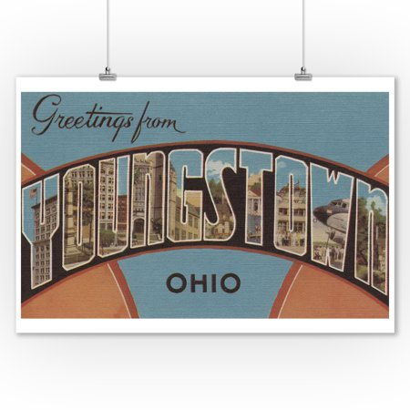 Greetings from Youngstown, Ohio (Orange/Blue) (9x12 Art Print, Wall Decor Travel Poster)