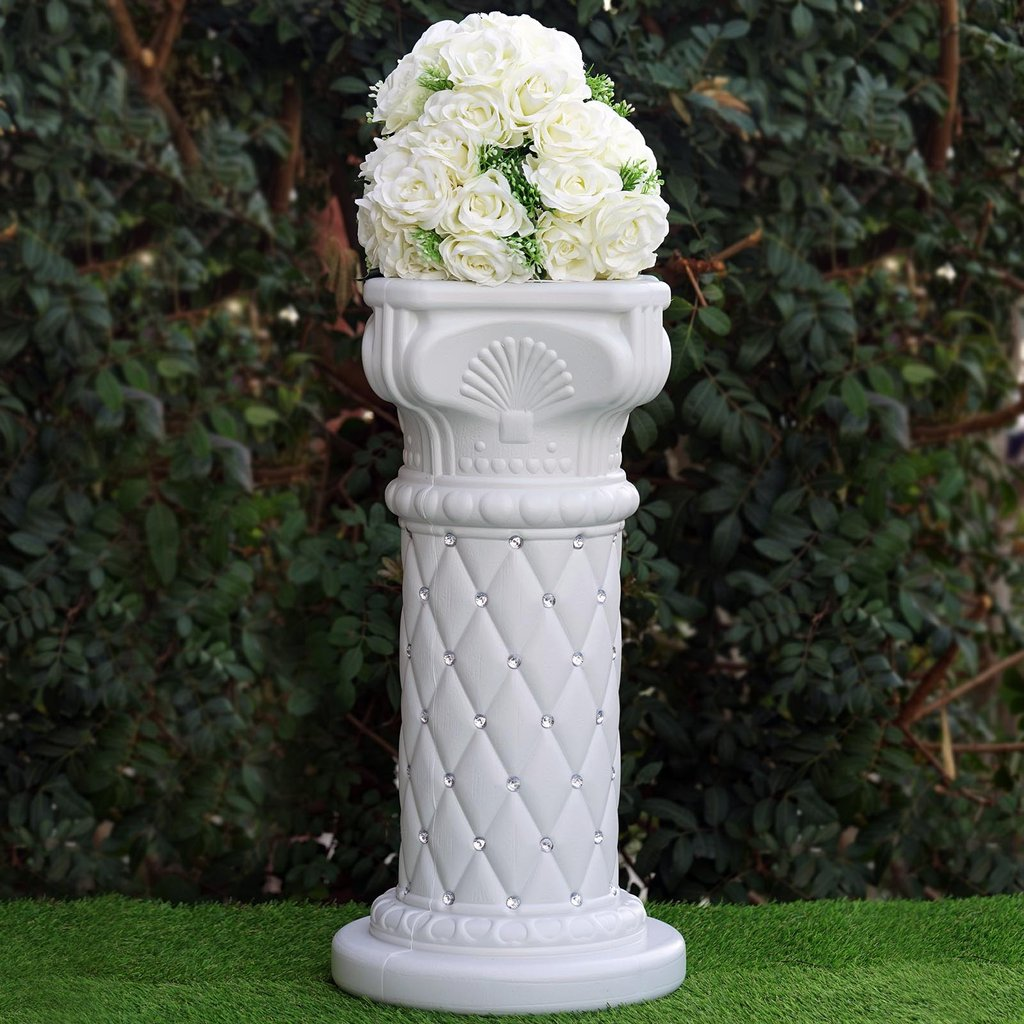 "BalsaCircle 4 pcs 25"" Wedding Columns with Crystal Beads - White"