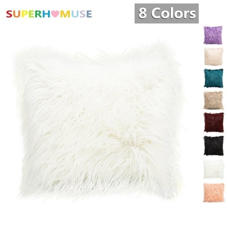 SUPERHOMUSE Throw Pillow Case, Nordic Posh Style Pillow Protector Home Decorative Soft Plush Faux Fur Throw Pillow Cover Pillowcases Square Multi Colors 18 x 18 Inch 45 x 45 cm
