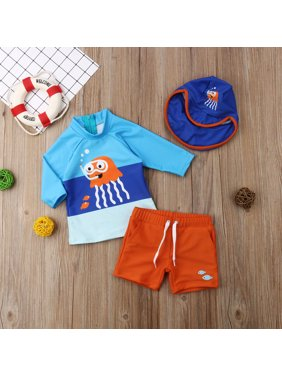 Baby Boy Three-Pieces Swimsuit Long Sleeve Top + Short Swim Trunk + Blue Little boy Bathing Cap Sets