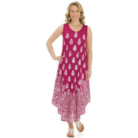 Sleeveless Paisley Print Dress Beaded Paisley Print Dress