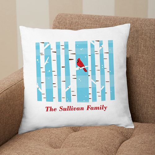 Personalized Winter Cardinal Pillow