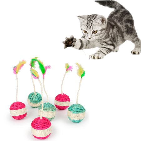 Outtop Pet Cat Kitten Toy Rolling Sisal Scratching Cat Toy Funny Kitten Play