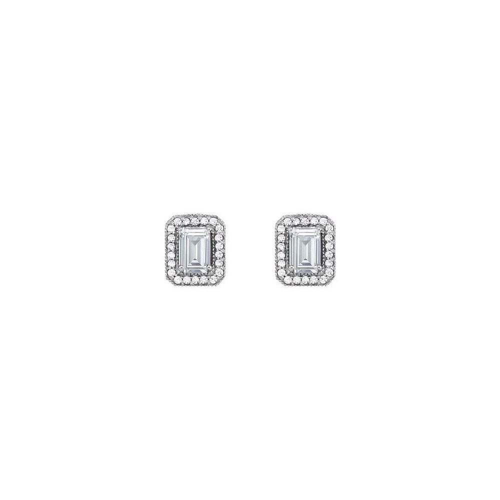 Fancy Square Cubic Zirconia Earrings in 14K White Gold 2.50 CT TGW - image 2 of 2