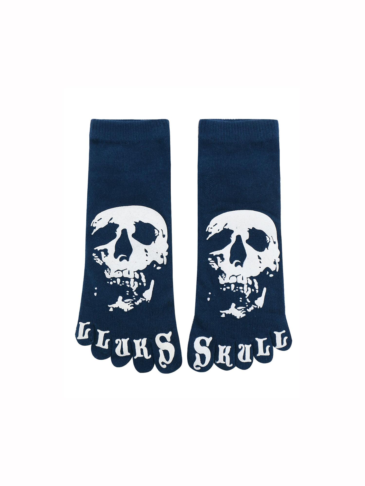 Men's Low Cut Letters Skull Pattern Ankle Length Five Toe Socks