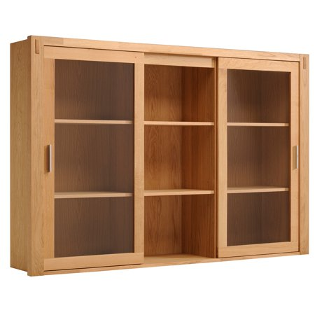 Adam Solid Oak 2 Glass Door Hutch Top with Shelves (Oak Hutch)