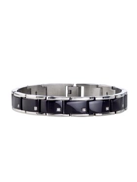 Mens Diamond Bracelet in Black Stainless Steel (0.10 carats, H-I I3)
