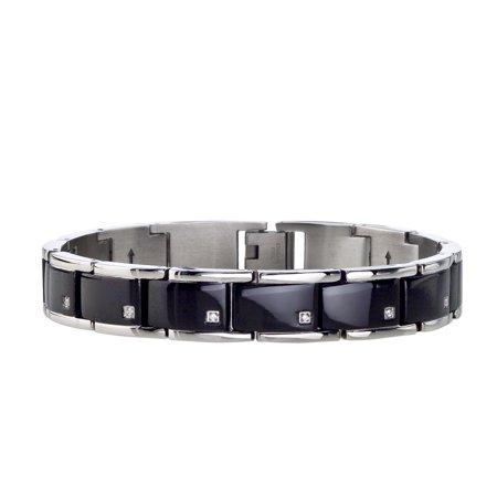 Mens Diamond Bracelet in Black Stainless Steel (0.10 carats, H-I I3) ()