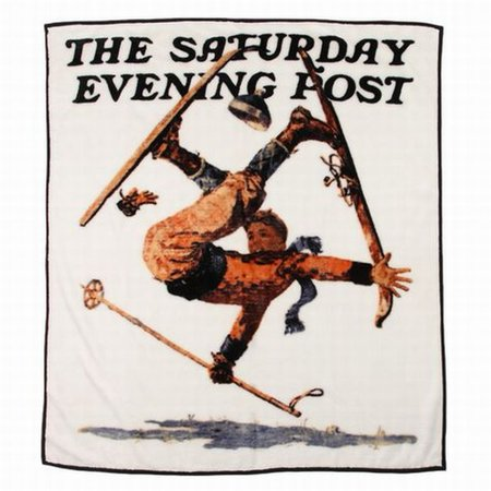 Saturday Evening Post Royal Plush Fleece Sking Throw Blanket Wipeout On Skis](Saturday Evening Post Halloween)