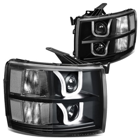 For 2007 to 2014 Chevy Silverado Dual LED U -Halo Projector Headlight Black Housing Clear Corner 08 09 10 11 12 13 1500 2500 3500 Left+Right