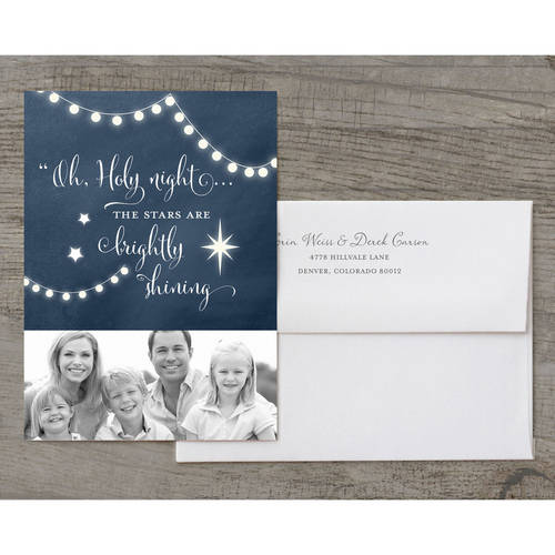 Oh Holy Night Stars Deluxe Holiday Card