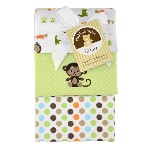 Child Of Mine Flannel Receiving Blankets, Neutral, 3-Pack