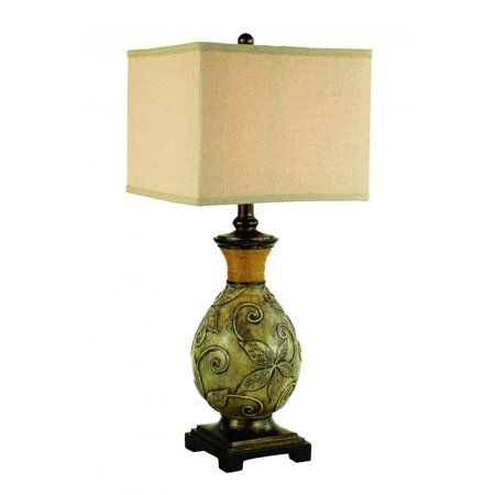 One Light White Wash Patina, Bronze Linen Fabric, Natural Shade Table Lamp