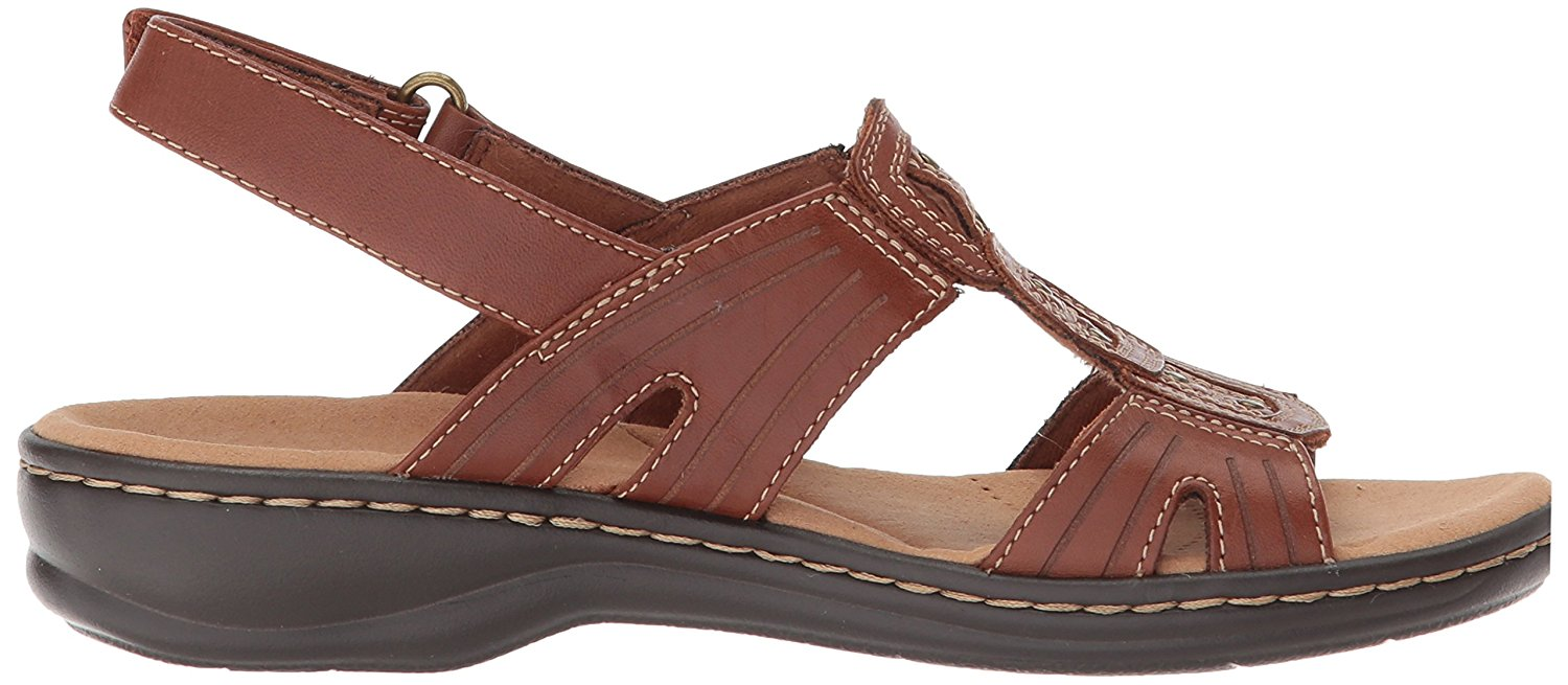 8f03a41aec19 Clarks - Clarks Womens Leisa Vine Leather Open Toe Casual Ankle Strap  Sandals - Walmart.com