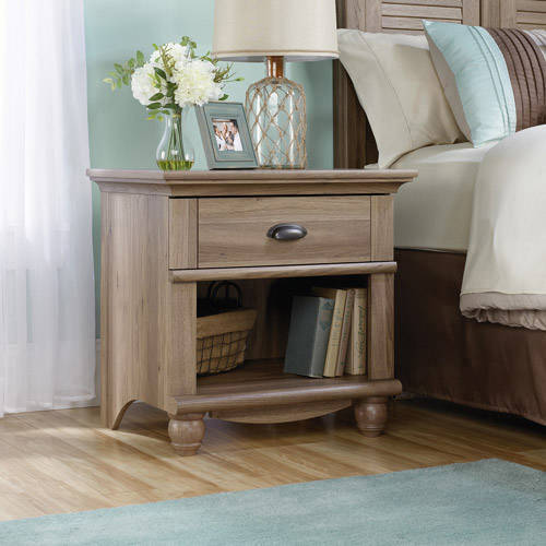 Sauder Harbor View 1-Drawer Nightstand, Salt Oak