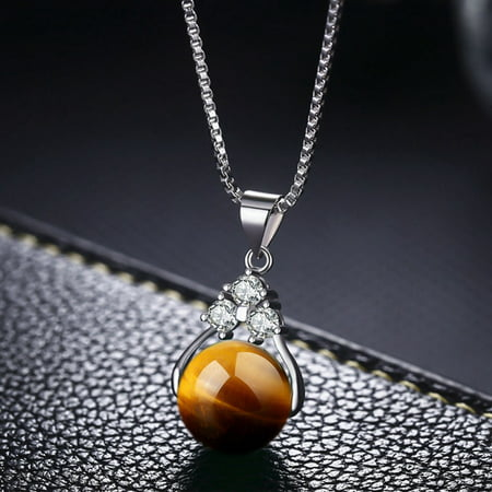 AkoaDa 2019 Fashion Natural Green Stone Transfer Ball Beads Pendant Necklaces Long Link Chain Crystal Necklaces Women Jewelry Gifts Light Fashion Link