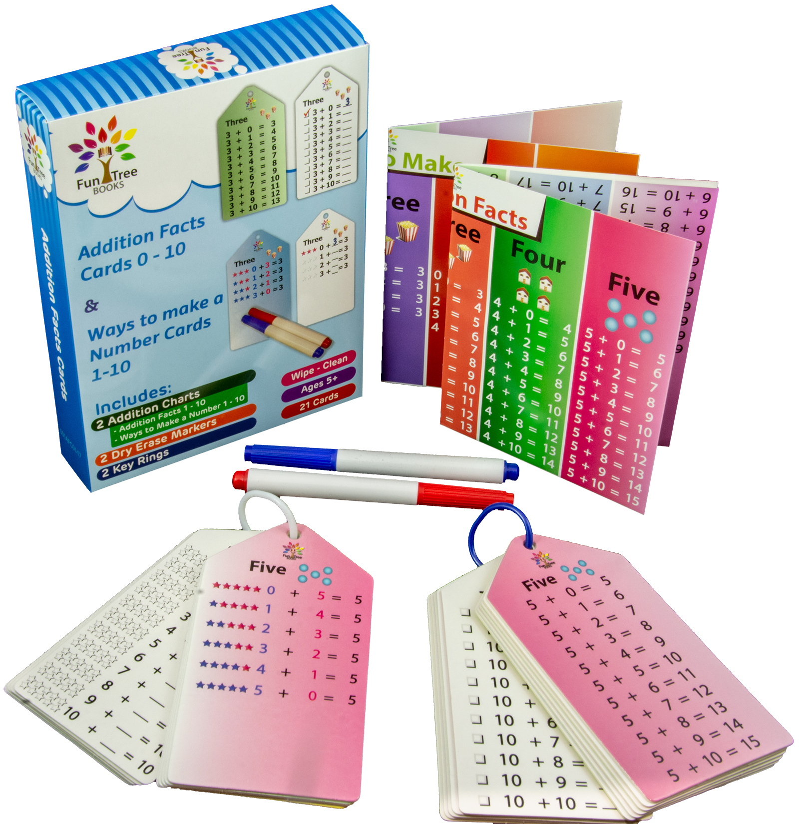 Wipe Clean - 2 Addition Facts Flash Cards Sets (0-10) with Key Rings and Bonus Markers and Charts