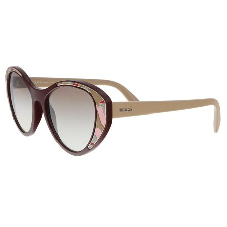 Prada PR14US-LJ84O0-55 Cat Eye Women's Burgundy Frame Brown Lens Sunglasses NWT (Prada Cat Eye Brille)