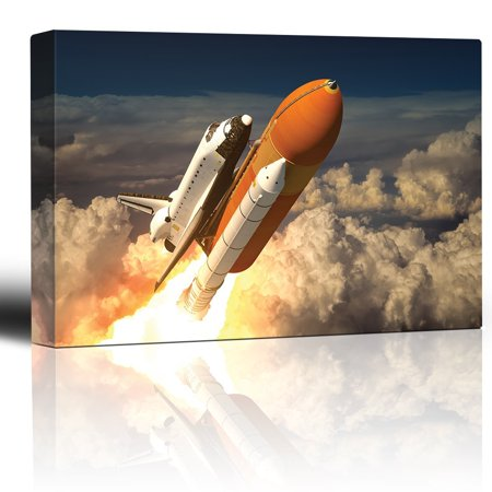 wall26 - NASA's Rocketship Being Launched to Outer Space - Canvas Art Home Decor - 32x48 inches - Outer Space Decor
