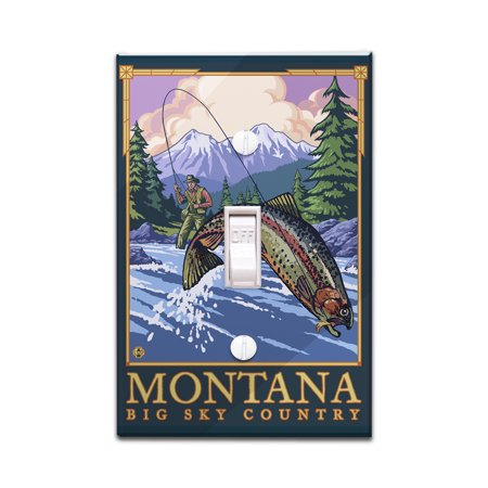 Montana - Big Sky Country - Fly Fishing Scene - Lantern Press Artwork (Light Switchplate Cover)